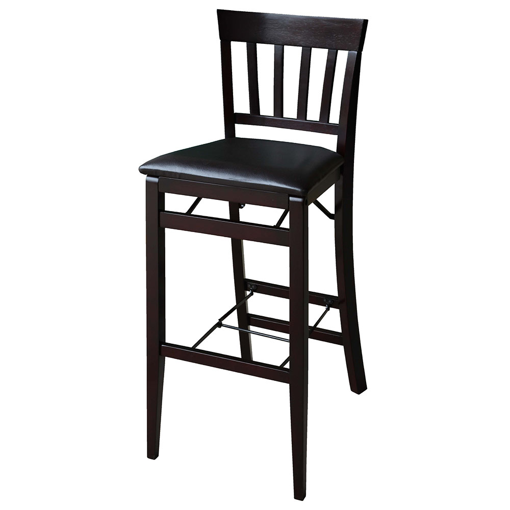 "Linon Triena 30"" Mission Back Wood Folding Bar Stool Espresso Finish"